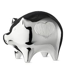 silver piggy bank for baby vera wang wedgwood silver plated baby piggy bank selfridges