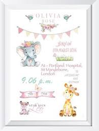 Personalised Baby Nursery Decor Personalised Baby Child Cat Print Picture Gift Nursery Wall Decor