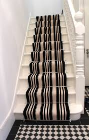 Refinish Banister Decor Cream And Black Carpeted Stairs With Stripe Pattern For