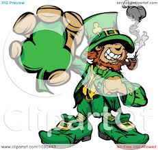 clipart leprechaun mascot smoking a pipe and holding a clover