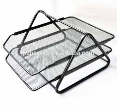 Black Wire Mesh Desk Accessories Office Stationery 2 Layer Wire Mesh Desk Organizer File Tray For