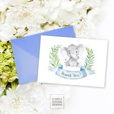 instant download elephant baby shower thank you card blue boho
