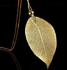 real leaf necklace images Creative design real leaf plated 24k gold pendant for women and jpg