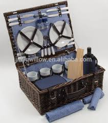 picnic basket set for 4 wholesale handmade brown cheap empty wicker picnic basket set 4