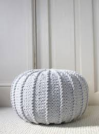 Ottoman Knitted Small Light Grey Floor Pouf Ottoman Knitted Pouf Knit Pouf
