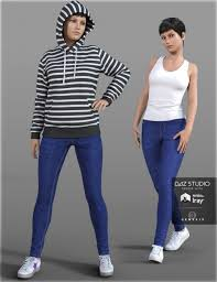 hoodie u0026 skinny jeans for genesis 3 female s 3d models