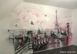 deco chambre girly fresque murale pour chambre d enfant avec toits de girly