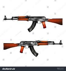 Flag With Ak 47 Realistic Vector Automatic Machine Kalashnikov Ak47 Stock Vector