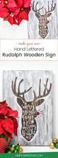 make your own hand lettered rudolph wooden sign craft holidays