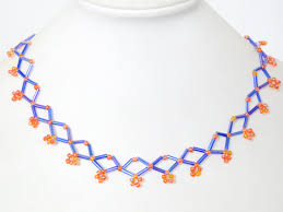 necklace beaded pattern images How to make a simple blue rhombic bugle bead necklace pattern for jpg