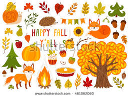 set autumn characters plants stock vector 461062060