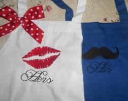 His And Hers Wedding Gifts Couples Apron Etsy
