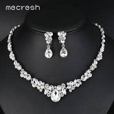 silver bridal necklace set images Mecresh silver color rhinestone bridal jewelry sets classic jpg