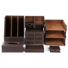 office desk organizer set artikle leather 8pcs office desk organizer set with 3 tier file tray