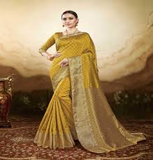buy mustard colored silk saree 22450