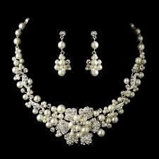 flower necklace set images Silver ivory pearl rhinestone flower necklace earrings bridal jpg