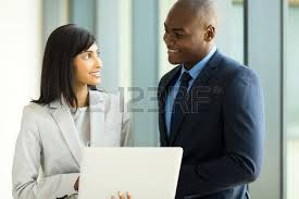 baise au bureau businessman meeting with client stock