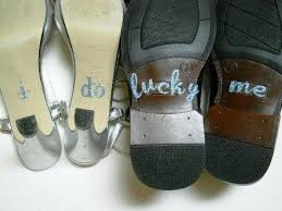 wedding shoes help me his hers i do shoe stickers in blue for your wedding shoes i
