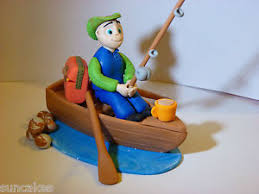 fisherman cake topper fishing fisherman and boat edible sugar paste decoration cake