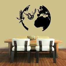 online get cheap globe wall decal aliexpress com alibaba group wall decals birds doves around globe earth vinyl sticker murals wall decor china