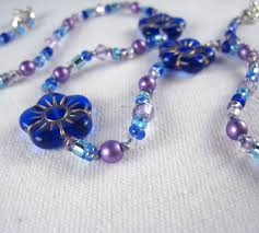 necklace swarovski crystals images Little girls jewelry cobalt blue flowers necklace swarovski jpg