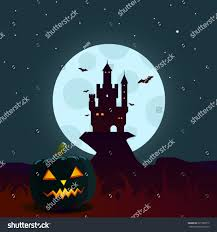 halloween background moon castle scary pumpkin stock vector
