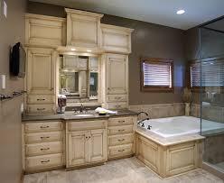 mullet cabinet custom master bathroom suite featuring separate