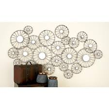 silver finished iron abstract bike wheel mirror wall decor 50214 null silver finished iron abstract bike wheel mirror wall decor