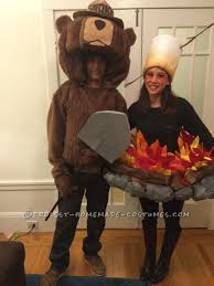 original smokey the bear and camp fire couple costume only you