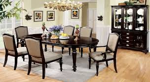 Dining Room Table And Hutch Sets Amazon Com 7 Pc Harrington Dark Walnut Finish Wood Elegant Formal