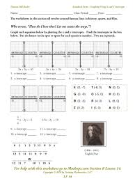 graphing linear equations using a table worksheet worksheets
