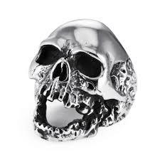 Halloween Gifts For Men Heavy Gothic Skull Biker Stainless Steel Men U0027s Ring High Polish