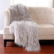 Mongolian Faux Fur Rug Bed Bath Charming Grey Mongolian Lamb Faux Fur Throw Blanket Warm