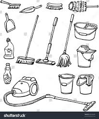 House Keeping by Cleaning Equipment Set Housekeeping Tools Handdrawn Stock Vector