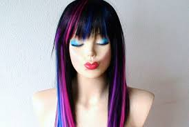 Wigs By Vanity Black Pink Purple Blue Wig Straight Black Hair With Color