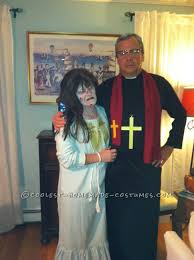 scary couple costume from exorcist regan and priest scary