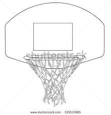 basketball hoop outline drawings raster illustration stock