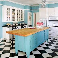 black and white kitchen floor ideas kitchen turquoise walls with island with butcher block countertop