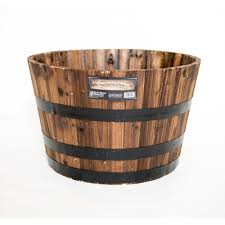 Buy A Planter Real Wood 26 In Dia Cedar Half Whiskey Barrel Planter G3056 The