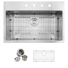 Overmount Stainless Steel Sink by Glacier Bay All In One Drop In Stainless Steel 32 In 4 Hole