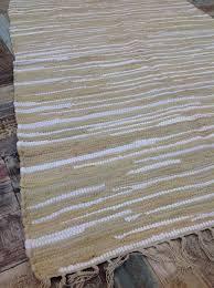 fair trade recycled natural beige white soft chindi rag rug 90 cm