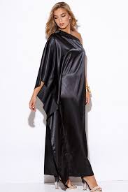 shop black satin bejeweled one shoulder kimono sleeve formal