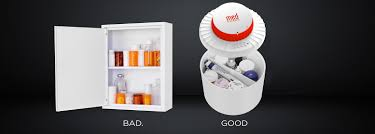 temperature controlled medication cabinet locking medication storage container airtight and humidity controlled