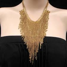 bib necklace beaded images Handmade beaded matte gold color bugle seed bead bib necklace n31 9 jpg