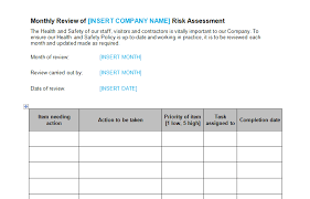 assessment templates risk assessment monthly review template bizorb