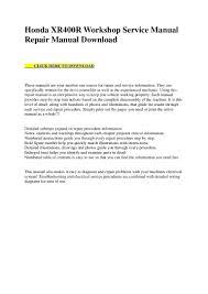 honda xr400 r workshop service manual repair manual download