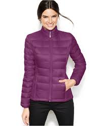 32 degrees quilted down packable puffer coat in purple lyst