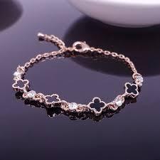 gold lucky charm bracelet images New fashion cute romantic rose gold color black clover bracelets jpg