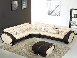 beige leather sectional sofa beige leather modern sectional sofa dark brown sides yi 816 beige