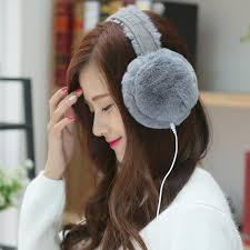 headband mp3 women wearable device autumn winter warm fur mp3 headset faux fur